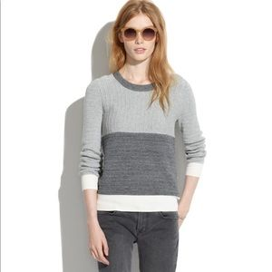 Madewell Gray Colorblock Linear Stitch Sweater S